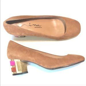 NINA suede block heels